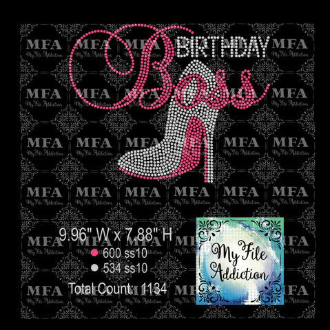 Birthday Boss with Stiletto High Heel Shoe Rhinestone Digital Download File - My File Addiction