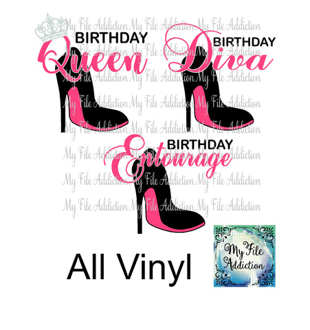 Birthday Diva Queen & Entourage Stiletto Vector Digital Download File - My File Addiction