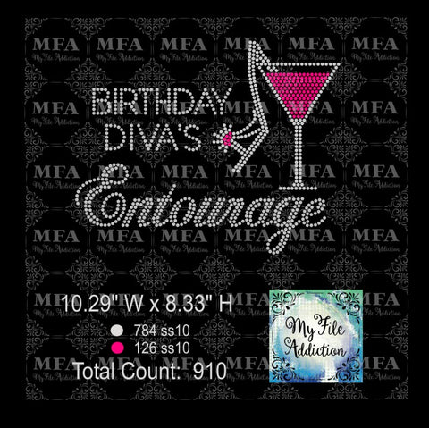 Birthday Diva's Entourage Rhinestone Digital Download File - My File Addiction