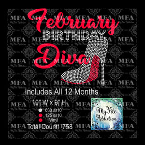 Birthday Month Diva Rhinestone & Vector Digital Download File - My File Addiction