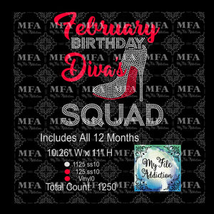Birthday Month Diva's Squad Rhinestone & Vector Digital Download File - My File Addiction
