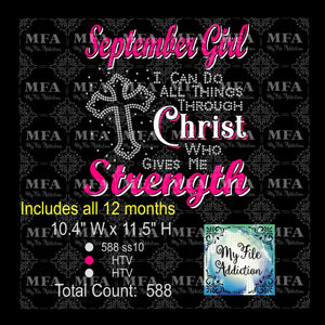 Birthday Month Girl I Can Do All Things Through Christ Who Gives Me Strength  Rhinestone & Vector Digital Download File - My File Addiction