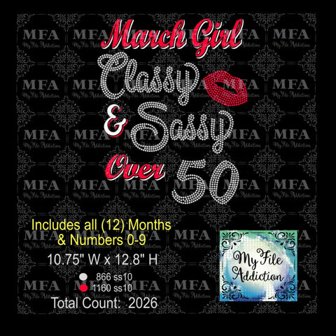 Birthday Month Girl Classy Sassy Rhinestone & Vector Digital Download File - My File Addiction