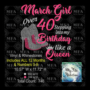 Birthday Month Girl with Number Stepping Into My Birthday Month Like A Queen Rhinestone & Vector Digital Download File - My File Addiction