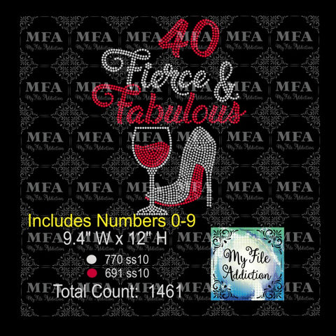 Birthday Number Fierce & Fabulous Shoe with Wine Glass Rhinestone Digital Download File - My File Addiction