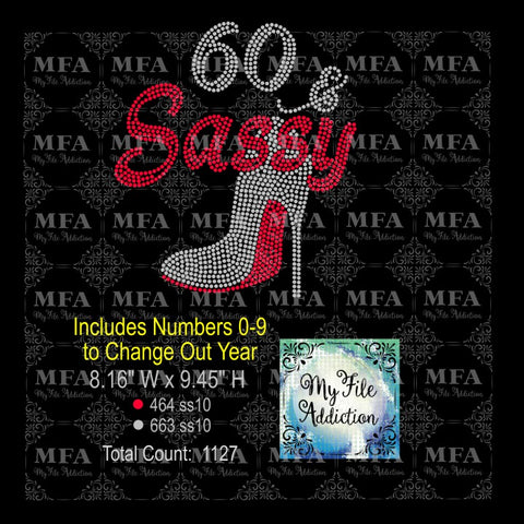 Birthday Number & Sassy Stiletto with Numbers Rhinestone Digital Download File - My File Addiction