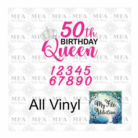 Birthday Queen with Numbers Vector Digital Download File - My File Addiction