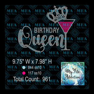 Birthday Queen Martini Glass Rhinestone Digital Download File - My File Addiction