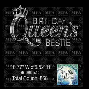 Birthday Queen's Bestie Rhinestone Digital Download File - My File Addiction