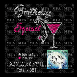 Birthday Squad Martini Glass Rhinestone Digital Download File - My File Addiction