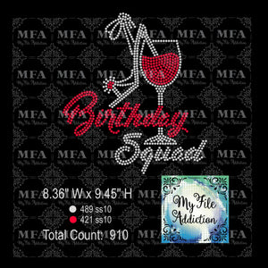 Birthday Squad Wine Glass Rhinestone Digital Download File - My File Addiction