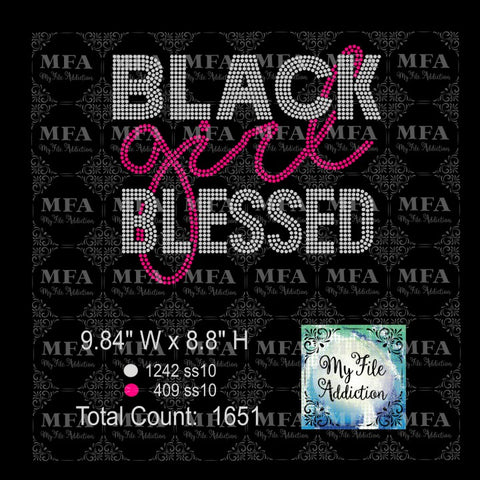 Black Girl Blessed Rhinestone Digital Download File - My File Addiction