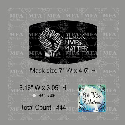 Black Lives Matter Fist Small Rhinestone Digital Download File