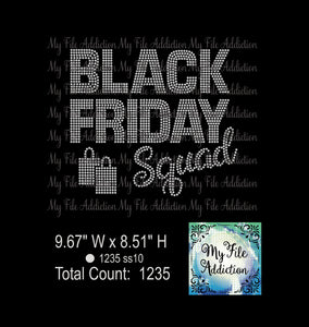 Black Friday Squad Rhinestone Digital Download File - My File Addiction