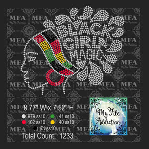 Black Girl Magic 3 Rhinestone Digital Download File - My File Addiction
