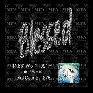 Blessed Bold Rhinestone Digital Download File