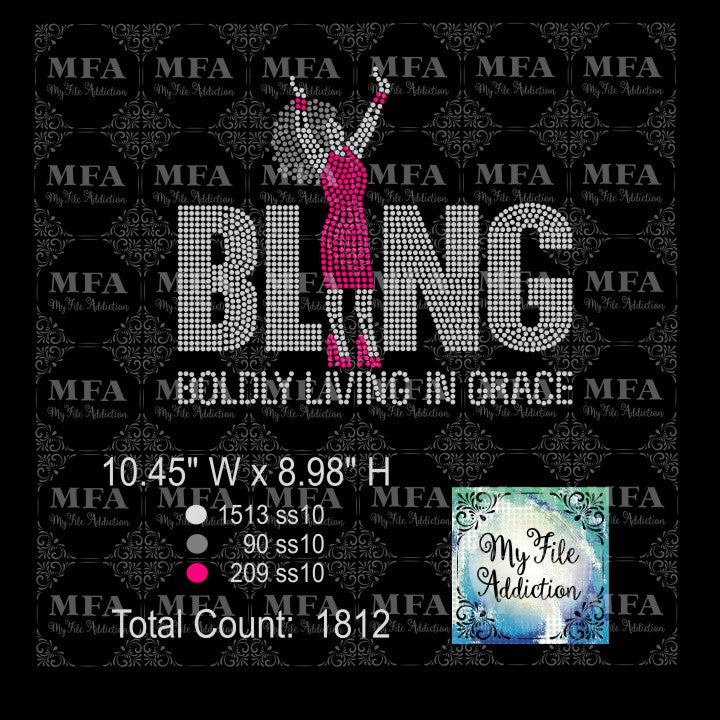 Bling 2 Boldly Living In Grace Rhinestone Digital Download File - My File Addiction