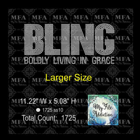 Bling Large 4 Boldly Living In Grace Rhinestone Digital Download File - My File Addiction