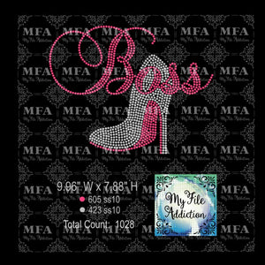 Boss with Stiletto High Heel Shoe Rhinestone Digital Download File - My File Addiction