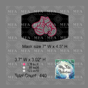 Boxing Gloves with Ribbon Cancer Small Rhinestone Digital Download File