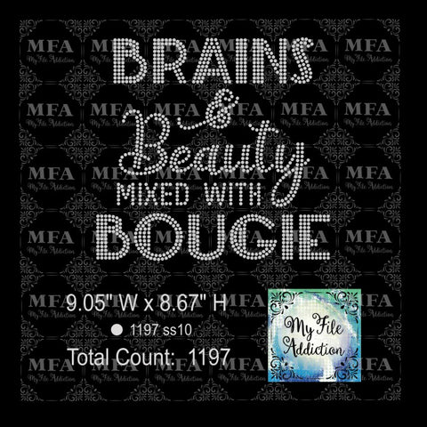 Brains & Beauty Mixed With Bougie Rhinestone Digital Download File - My File Addiction