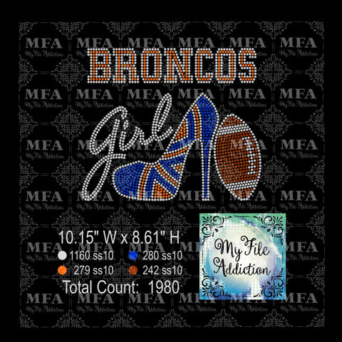 Broncos Shoe With Football Rhinestone Digital Download File