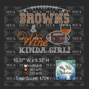 Browns & Wine Kinda Girl Football Rhinestone Digital Download File