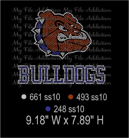 Bulldogs 3 Colors Rhinestone Digital Download File - My File Addiction