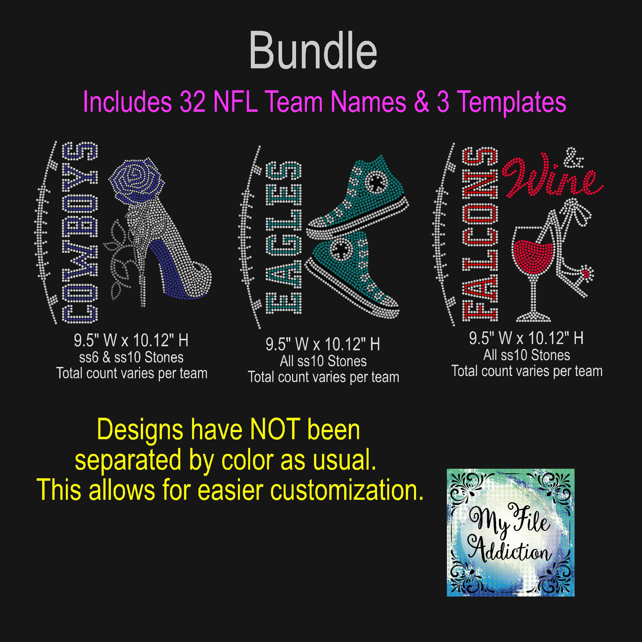 NFL Football Bundle 32 Team Names Plus 3 Rhinestone Designs, Rose Stiletto, High Tops & Wine with Shoe Rhinestone Digital Download File - My File Addiction