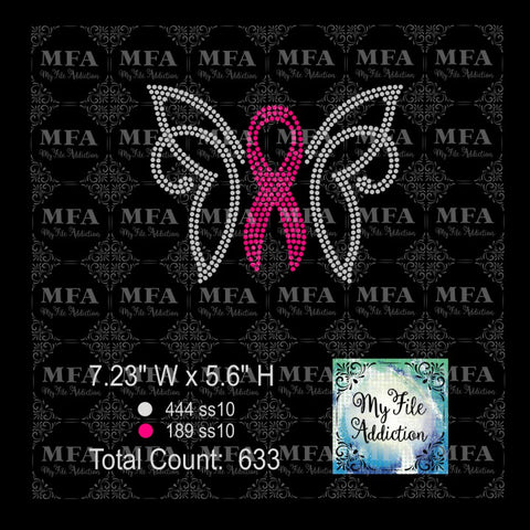 Butterfly Cancer Awareness 3 Rhinestone Digital Download File