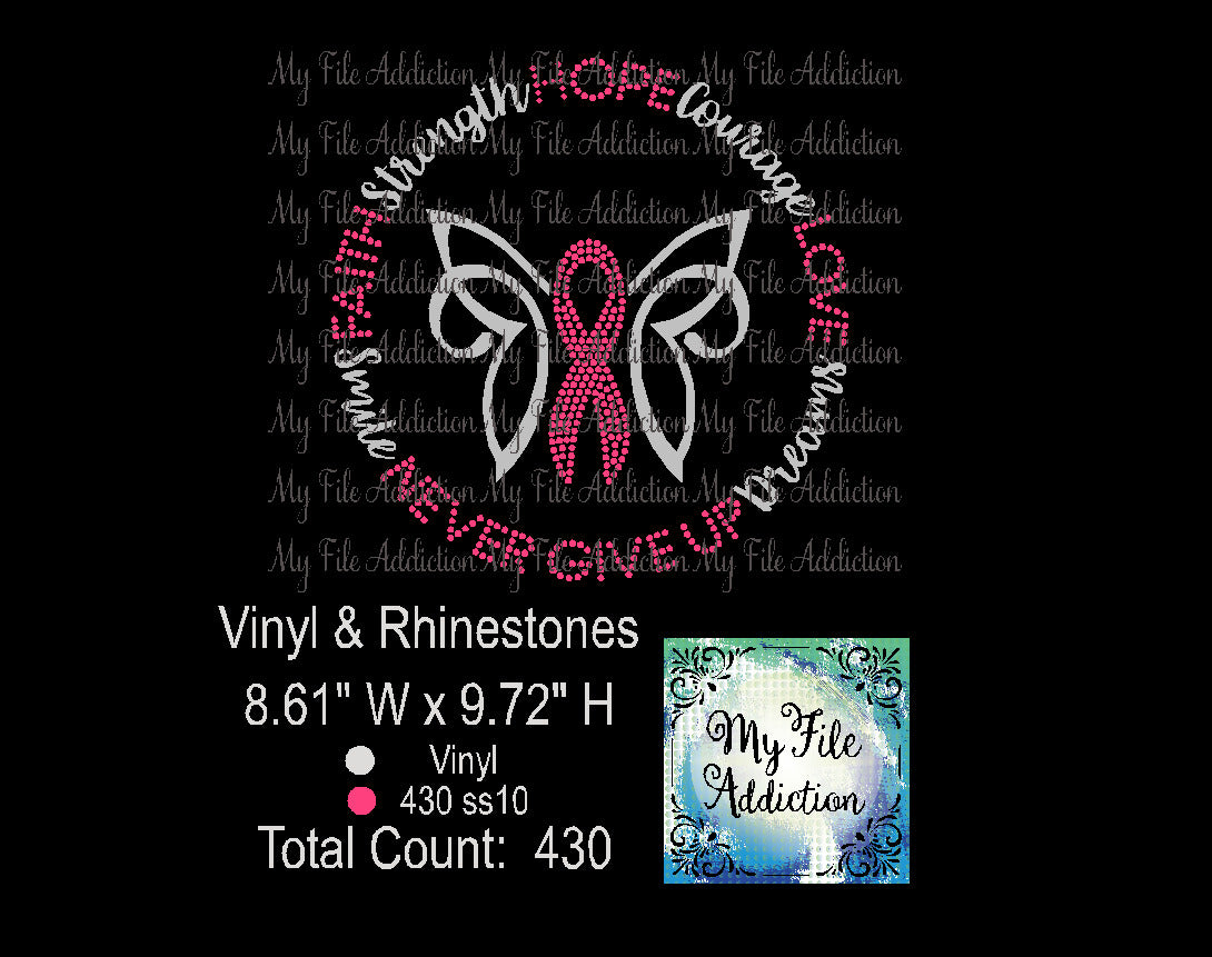 Butterfly Cancer Awareness Rhinestone & Vector Digital Download File - My File Addiction