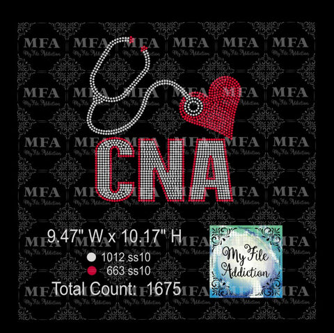 CNA with Heart Rhinestone Digital Download File