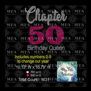 Chapter with Numbers 0-9 Birthday Queen 30 40 50 60 70 Rhinestone Digital Download File (*Add Ons Available @ Additional Costs) - My File Addiction