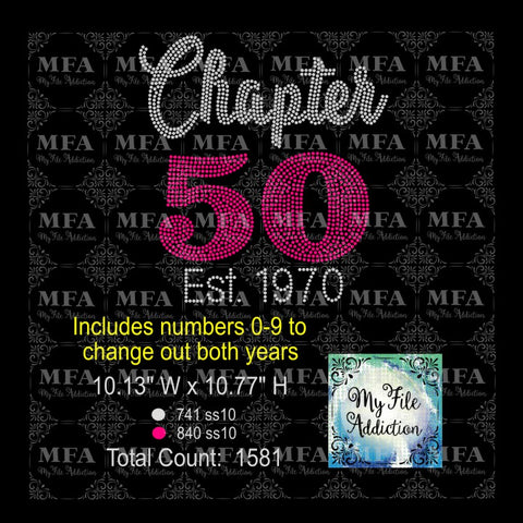 Chapter with Numbers 0-9 Est with Years Birthday 30 40 50 60 70 Rhinestone Digital Download File (*Add Ons Available @ Additional Costs) - My File Addiction