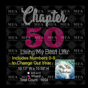 Chapter with Numbers 0-9 Living My Best Life Birthday 30 40 50 60 70 Rhinestone Digital Download File (*Add Ons Available @ Additional Costs) - My File Addiction