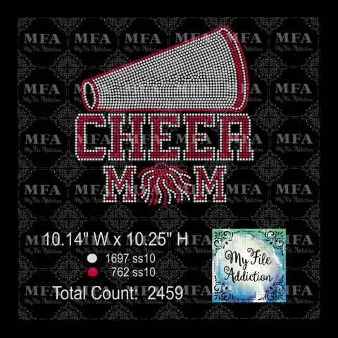 Cheer Mom Megaphone Rhinestone Digital Download File - My File Addiction