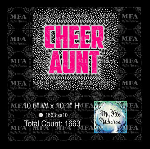 Cheer Aunt Scatter Rhinestone & Vector Digital Download File - My File Addiction