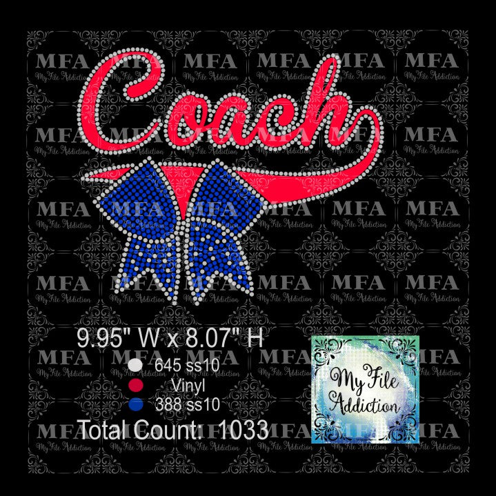 Cheer Coach Rhinestone & Vector Digital Download File - My File Addiction