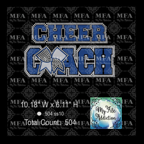 Cheer Coach with Bow Rhinestone & Vector Rhinestone Digital Download File - My File Addiction