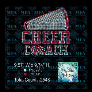 Cheer Coach Megaphone Rhinestone Digital Download File - My File Addiction