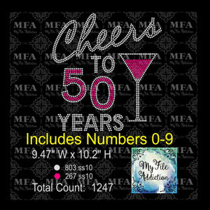 Cheers to Birthday Years Martini Rhinestone Digital Download File - My File Addiction