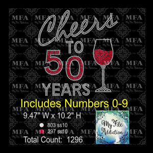 Cheers to Birthday Years Wine Rhinestone Digital Download File - My File Addiction