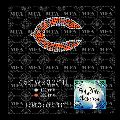 Chicago Bears Hat Rhinestone Digital Download File - My File Addiction