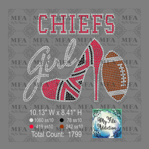 Chiefs Shoe With Football Rhinestone Digital Download File - My File Addiction