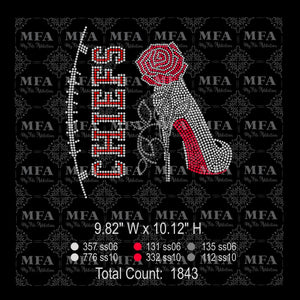 Chiefs Rose Stiletto High Heel Shoe Rhinestone Digital Download File - My File Addiction