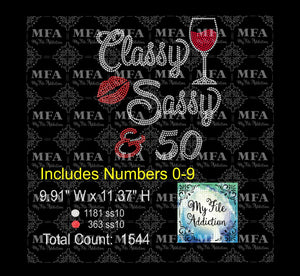 Classy Sassy & Birthday Number Wine Rhinestone Digital Download File - My File Addiction