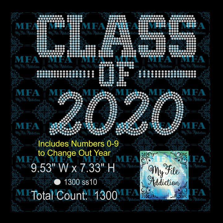 Class of with Numbers Senior Rhinestone Digital Download File - My File Addiction