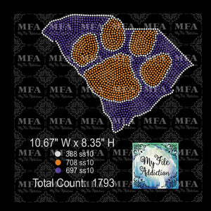 Clemson Rhinestone Digital Download File
