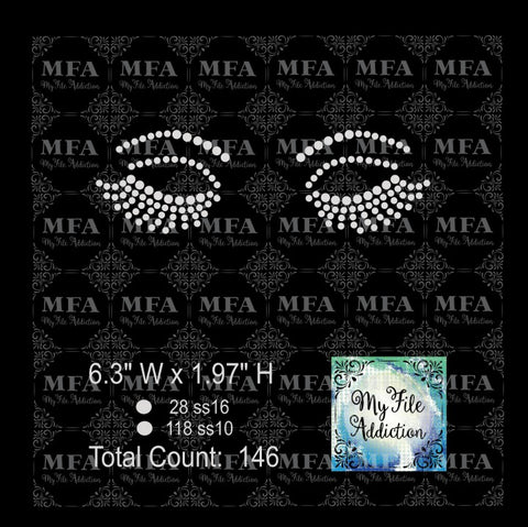 Closed Eyes Lashes Rhinestone Digital Download File - My File Addiction