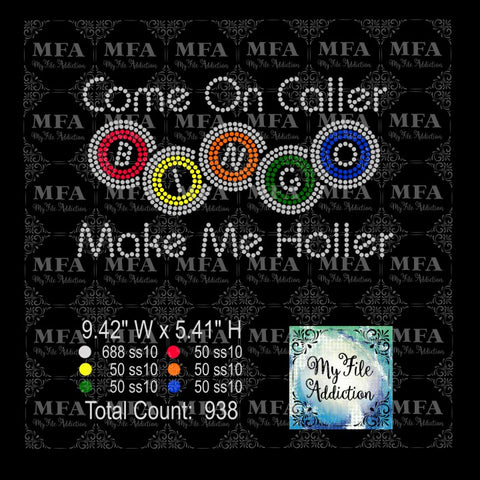 Come On Caller Make Me Holler Bingo Rhinestone Digital Download File